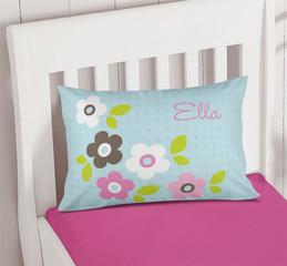 Preppy Flowers Blue Pillowcase Cover