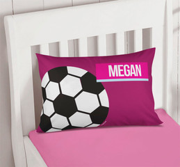 Girl Soccer Fan Purple Pillowcase Cover