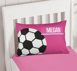 Girl Soccer Fan Pink Pillowcase Cover