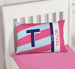 Double Initial stripes Blue Pillowcase Cover