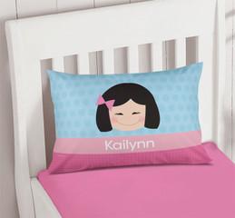 Just Like Me Girl Light Blue Pillowcase Cover