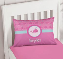 Cute Pink Whales Pillowcase Cover