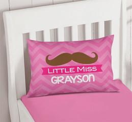 Little Miss Mustach Pillowcase Cover