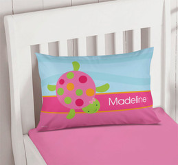 Swimming Pink Turtles Pillowcase Cover