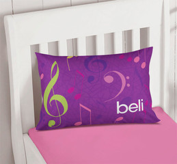 Girly Music Notes Pillowcase Cover