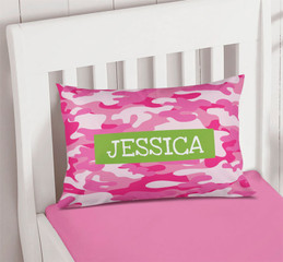 Pink & Green Camouflage Pillowcase Cover