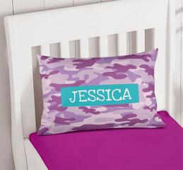 Purple & Aqua Camouflage Pillowcase Cover