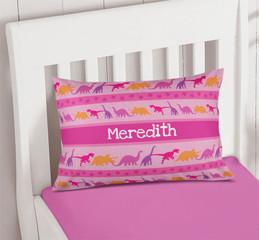 Pink Dinosaur Trail Custom Pillows