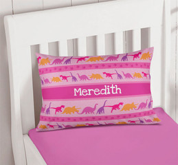 Pink Dinosaur Trail Pillowcase Cover
