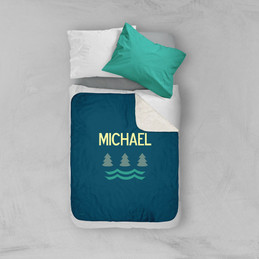Summer Forest Blue Sherpa Blanket