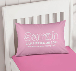Modern Pink Autograph Camp Pillowcase Cover