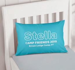 Modern Sky Blue Autograph Camp Pillowcase Cover