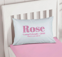 Glitter Pink Name Autograph Camp Pillowcase Cover
