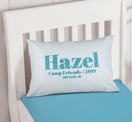 Glitter Blue Name Autograph Camp Pillowcase Cover