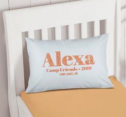 Glitter Orange Name Autograph Camp Pillowcase Cover