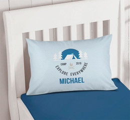 Explore Everywhere Blue Pillowcase Cover