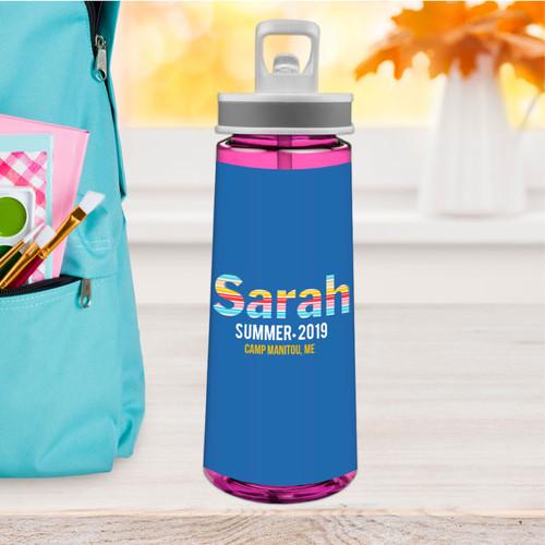 Fun Stripes Girl Sports Water Bottle