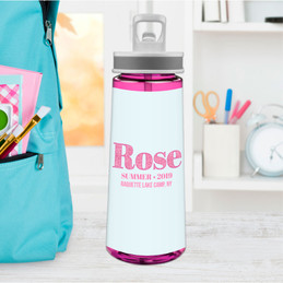 Glitter Pink Name Sports Water Bottle