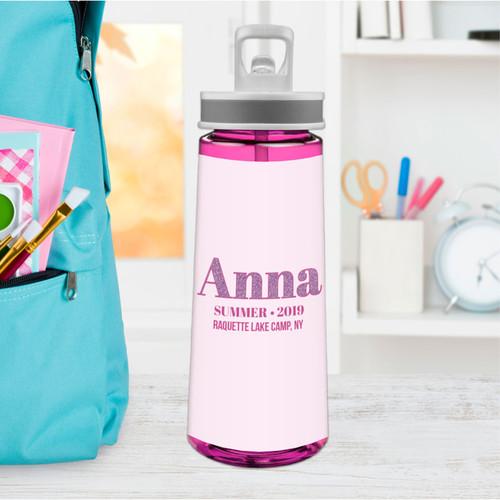 Glitter Purple Name Sports Water Bottle