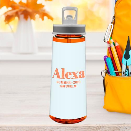 Glitter Orange Name Sports Water Bottle
