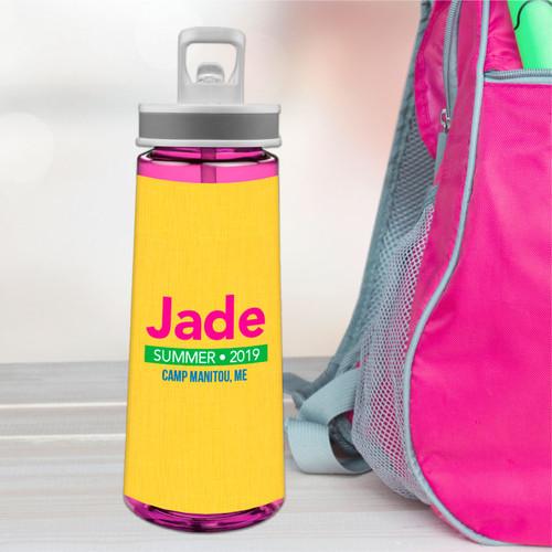 Linen Yellow Style Sports Water Bottle