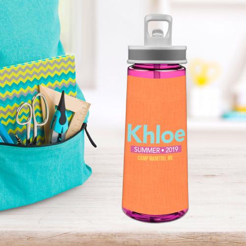 Linen Orange Style Sports Water Bottle