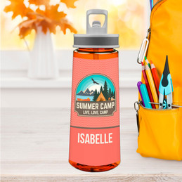 Live, Love, Camp Orange Sports Water Bottle