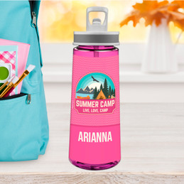 Live, Love, Camp Pink Sports Water Bottle