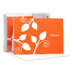 Awesome Boxed Stationery Note Cards | Leaves On The Air Orange