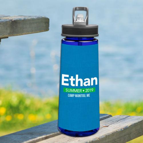 Linen Blue Style Sports Water Bottle