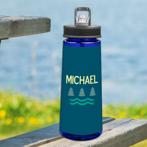 Summer Forest Blue Sports Water Bottle