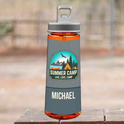 Live, Love, Camp Gray Sports Water Bottle