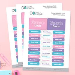 Modern Pink Waterproof Labels Rectangular Pack