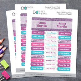 Glitter Purple Name Waterproof Labels Rectangular Pack
