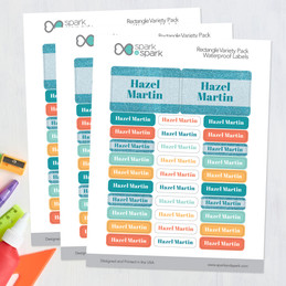Glitter Blue Name Waterproof Labels Rectangular Pack