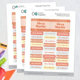 Glitter Orange Name Waterproof Labels Rectangular Pack