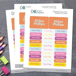 Linen Orange Style Waterproof Labels Rectangular Pack