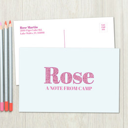 Glitter Pink Name Postcards