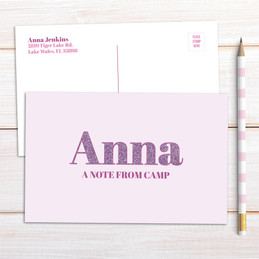 Glitter Purple Name Postcards