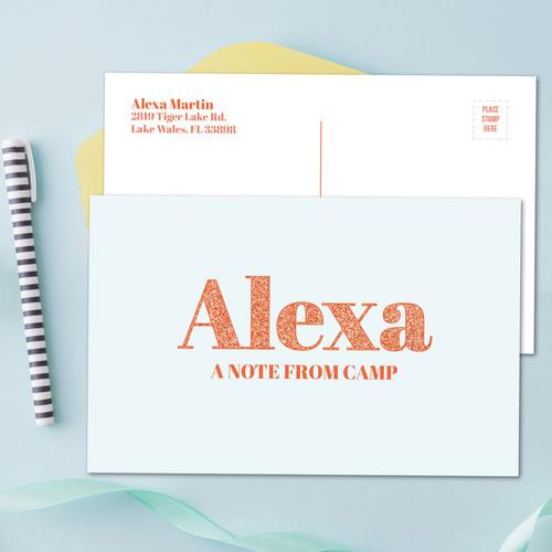 Glitter Orange Name Postcards