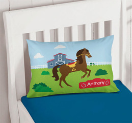 Cute Race Horse Pillowcase Cover