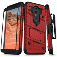 ZIZO BOLT Series Alcatel Onyx Case Military Grade Drop Tested with Full Glass Screen Protector Holster and Kickstand Red Black 1BOLT-ALCONYX-RDBK