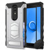 ZIZO ELECTRO Series Compatible with Alcatel Onyx Case with Tempered Glass Screen Protector Card Slot and Air Vent Magnetic Holder Silver Black 1ELC-ALCONYX-SLBK