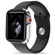 ZIZO SHOCK Series Apple Watch 42mm Case - Military Grade Drop Tested with METALLIC Bumper (Silver & Black) SHK-AWatch42-SLBK