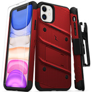 ZIZO BOLT Series iPhone 11 Case - Heavy-duty Military-grade Drop ProtectION w/ Kickstand Included Belt Clip Holster Tempered Glass Lanyard - Red BOLT-IPH61-RDBK