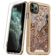 ZIZO ION Series iPhone 11 Pro Max Case - Military Grade Drop Tested with Tempered Glass Screen Protector - Gold Swirl Marble IONC-IPH65-GDSW