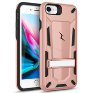 ZIZO TRANSFORM iPhone 8  iPhone 7, iPhone 6s Case - Dual Layered with Built in Kickstand Slim and Shockproof - Rose Gold & Black TFM-IPH7-RGDBK