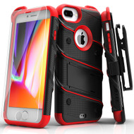 ZIZO BOLT Series iPhone 8 Plus Case Military Grade Drop Tested Tempered Glass Screen Protector Holster iPhone 7 Plus Case BLACK RED 1BOLT-IPH7PLUS-BKRD