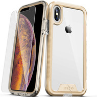ZIZO ION Series Compatible with iPhone X Case Military Grade Drop Tested with Tempered Glass Screen Protector iPhone XS Case GOLD CLEAR IONC-IPHX-GDCL