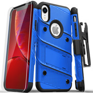 ZIZO BOLT Series iPhone XR Case Military Grade Drop Tested with Tempered Glass Screen Protector Holster and Kickstand BLUE BLACK 1BOLT-IPHXR-BLBK